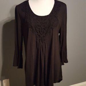 3/4 sleeve Crochet Trim Top